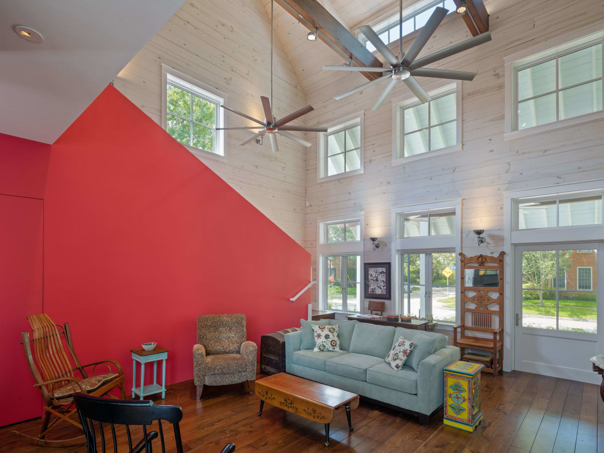 AIA Houston Home Tour 4153 Oberlin red staircase
