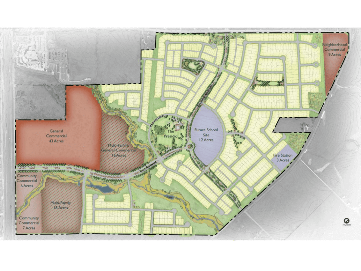Trace mixed use development map San Marcos Highpointe Communities