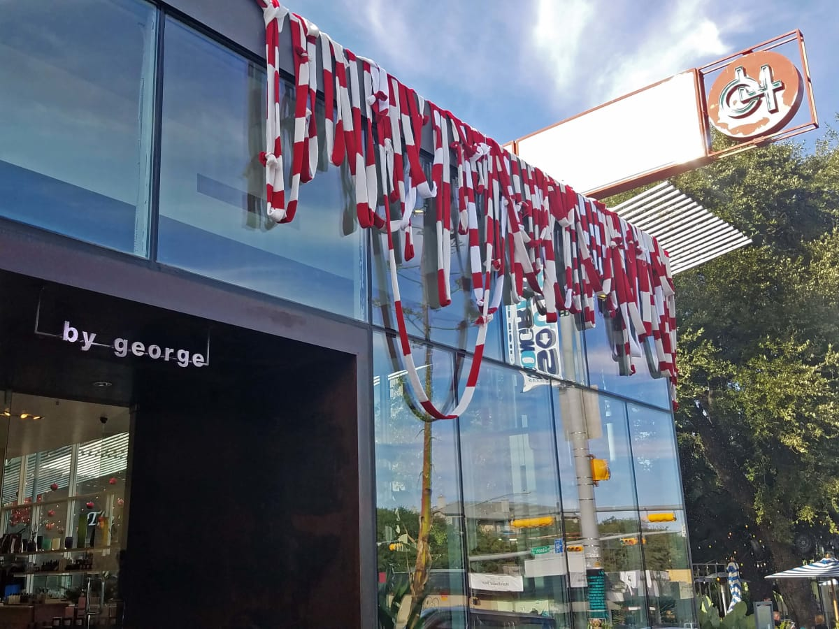 ByGeorge South Congress Magda Sayeg yarn bomb Christmas 2016