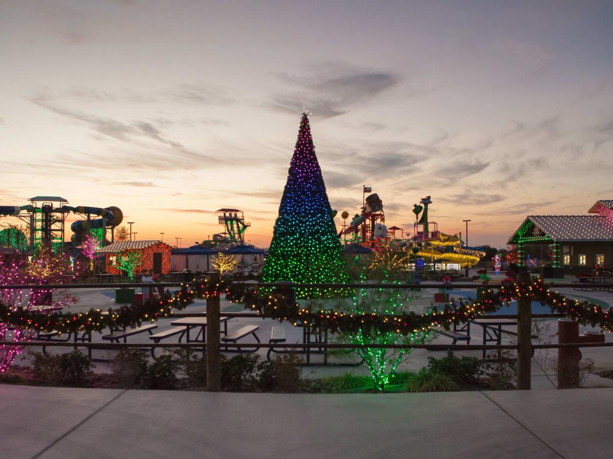 Texas Typhoon Winterfest Christmas tree at sunset