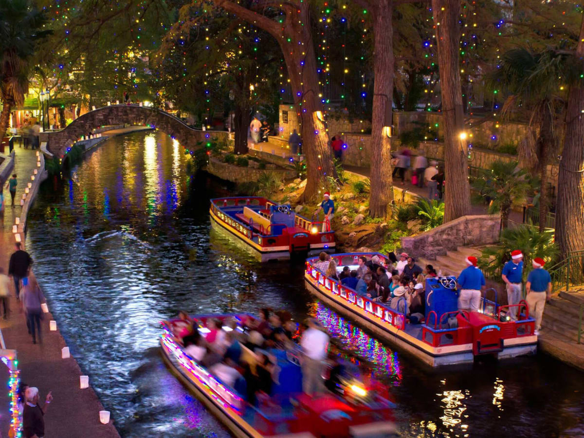 San Antonio Riverwalk Christmas holiday lights