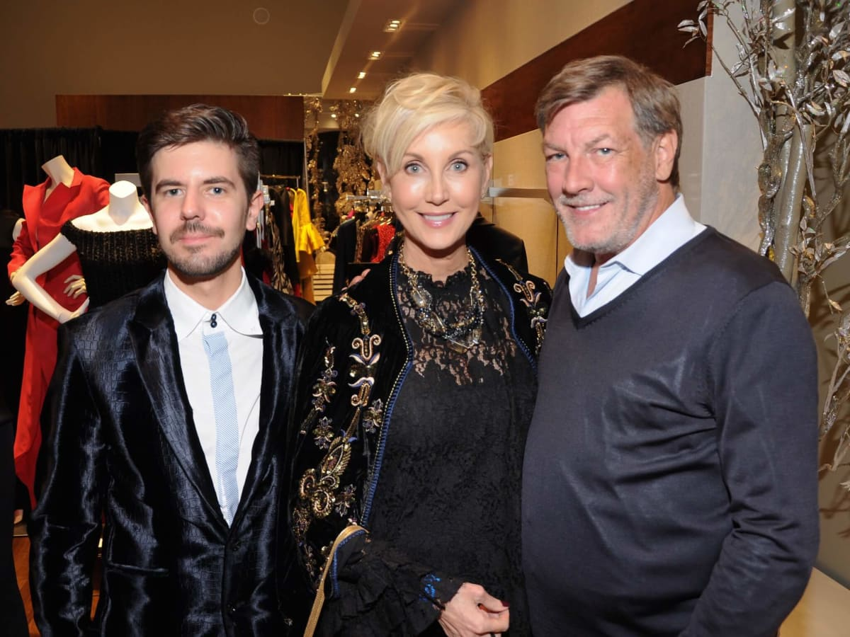 Lennart Kulke, Jerri Moore, Neal Hamil at Christian Siriano show at Elizabeth Anthony
