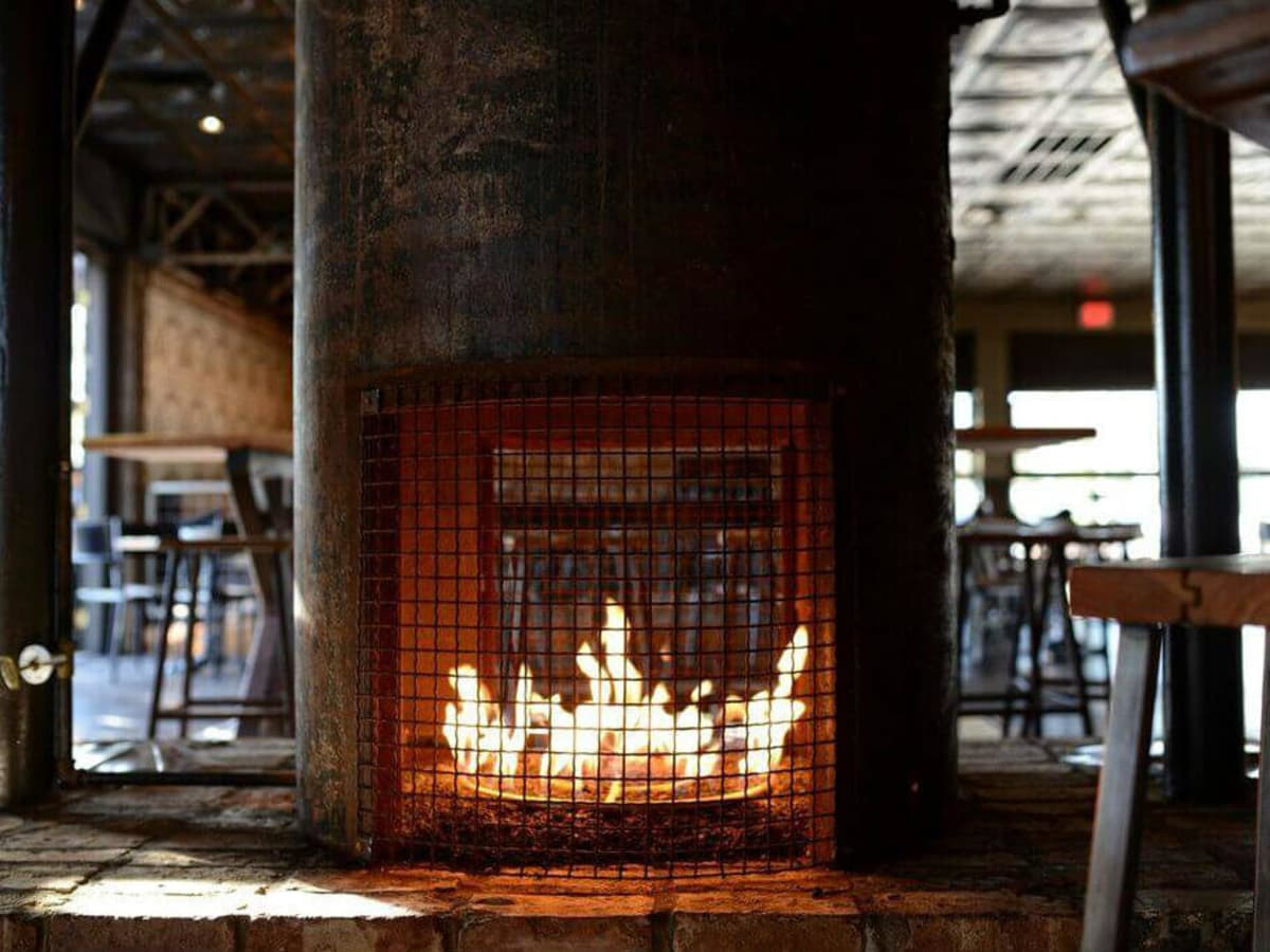 Fireplace at Henry's Majestic restaurant in Dallas