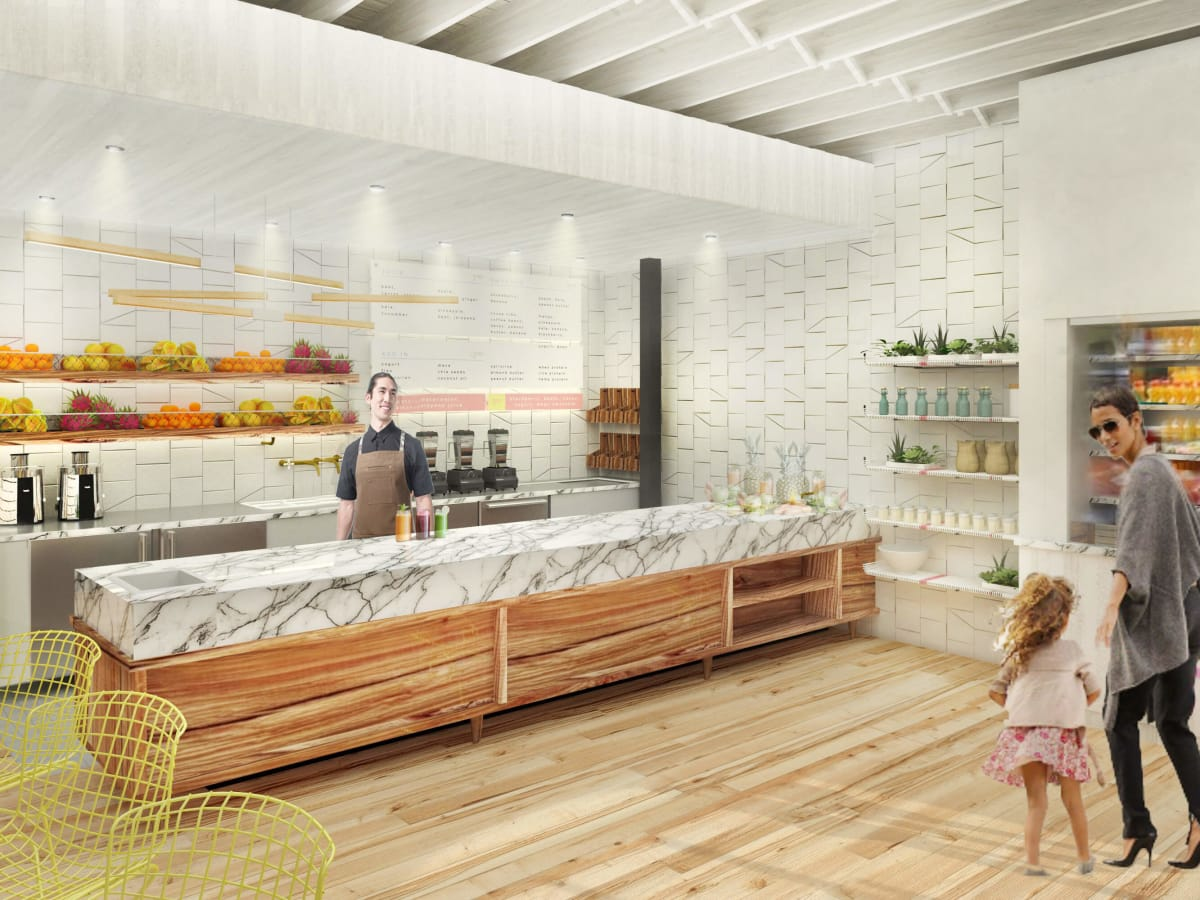 Jugo restaurant juice bar rendering