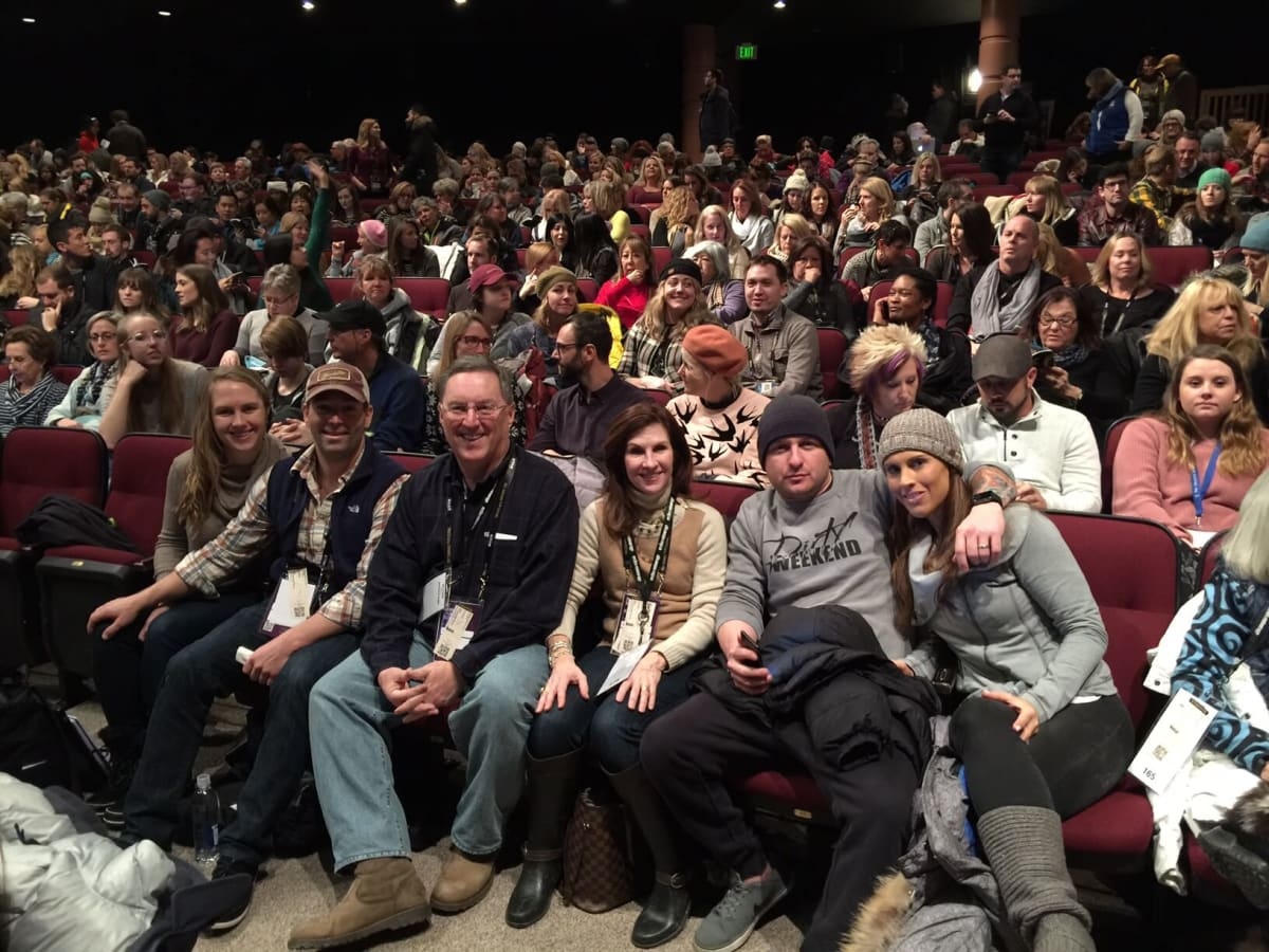 Melissa Hulme, fiancé Dan La Caze, Ron and Sheila Hulme, Adam Drexler and wife Jennifer Hulme- on front row at The Sundance Film Festival at the world premiere of Wind River- one of their favorite films