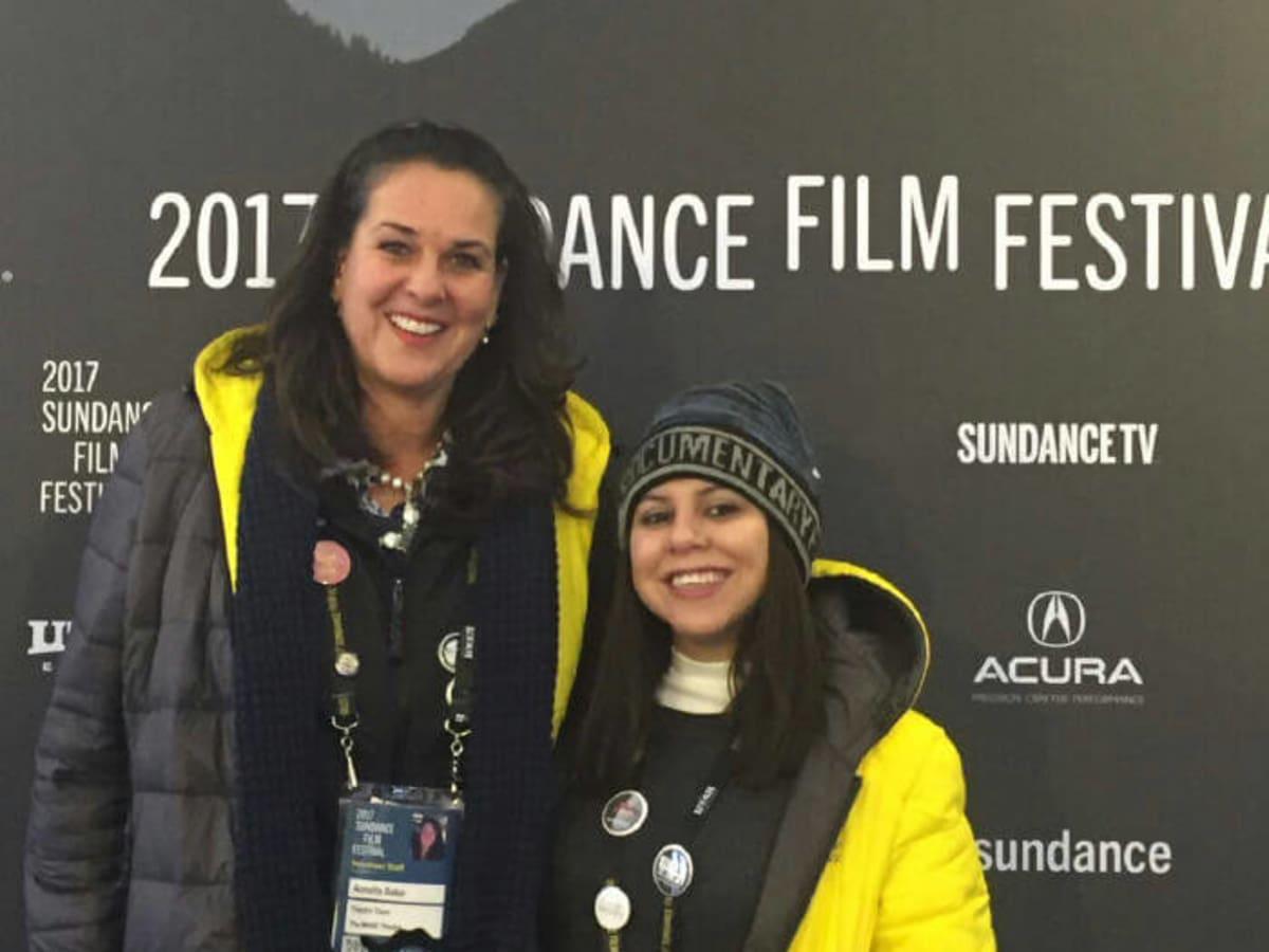 Houstonians Annette Baker and Lluvia Fernandez volunteer at the Sundance Film Festival serving as ushers in the MARC theater
