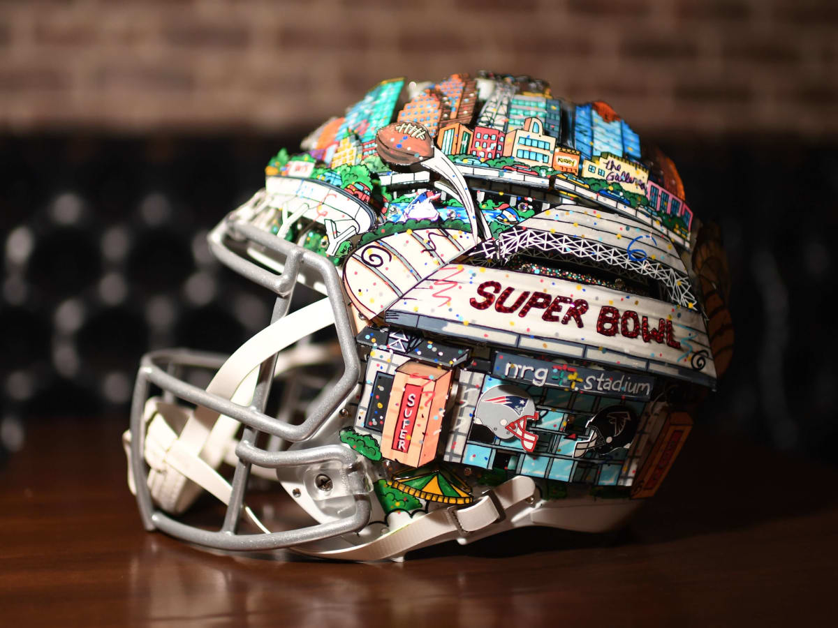 Hand painted Super Bowl LI helmet by Charles Fazzino at Bosscat Kitchen Super Bowl party