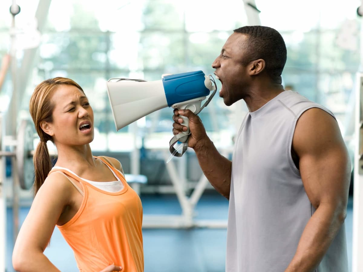 Exercise, fitness, gym instructor yelling at client