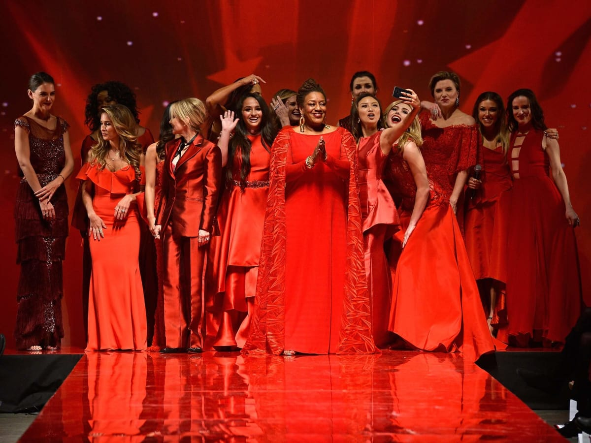 Celebrity models walk the runway at the American Heart Association's Go Red For Women Red Dress Collection 2017 p