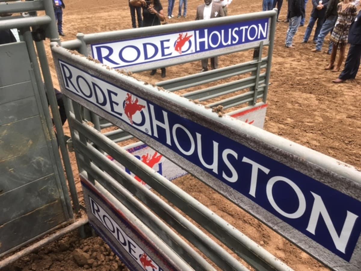 RodeoHouston chute on the floor of NRG Stadium