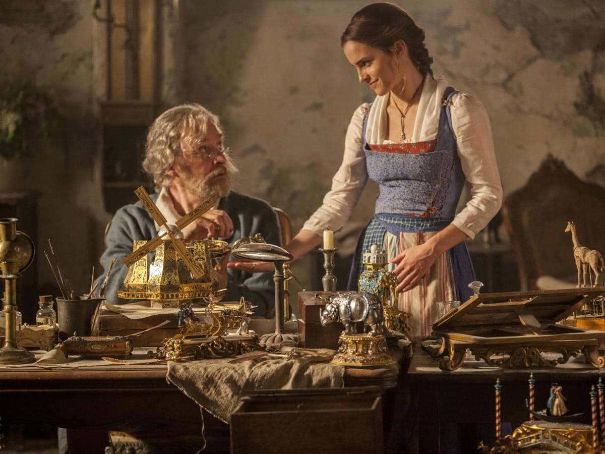 Kevin Kline and Emma Watson in Beauty and the Beast