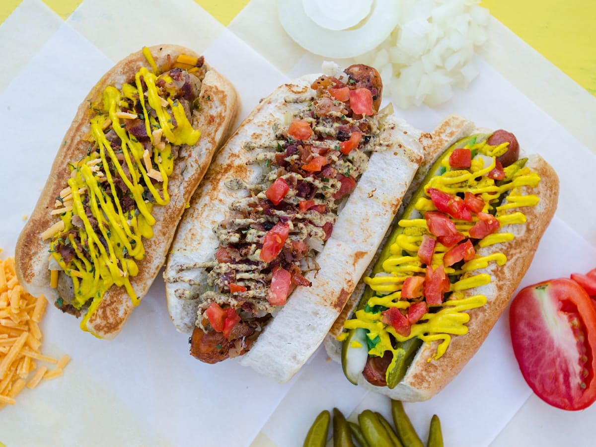 Dat Dog New Orleans hot dog trio