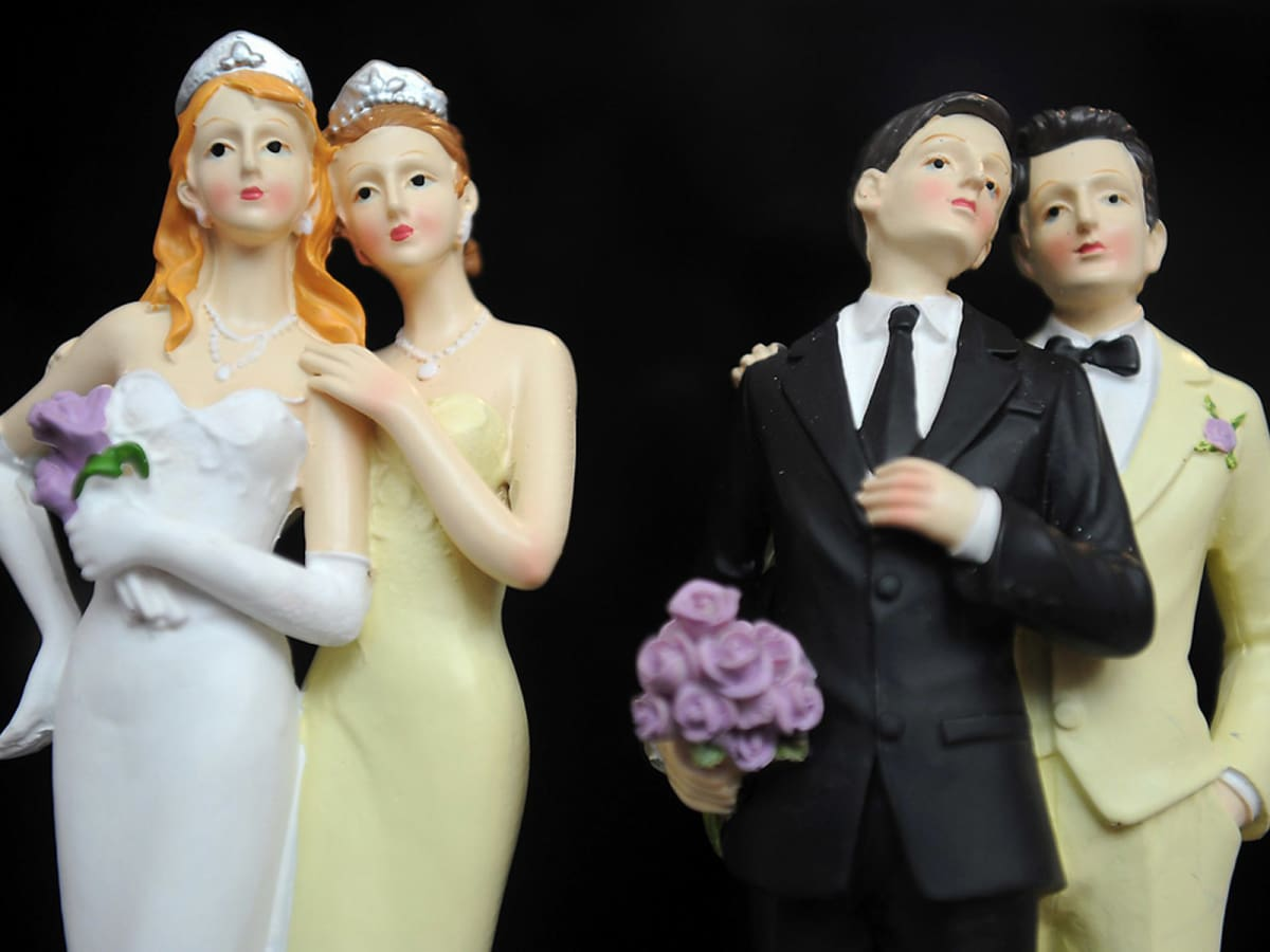 gay marriage two ladies cake toppers and two men cake toppers
