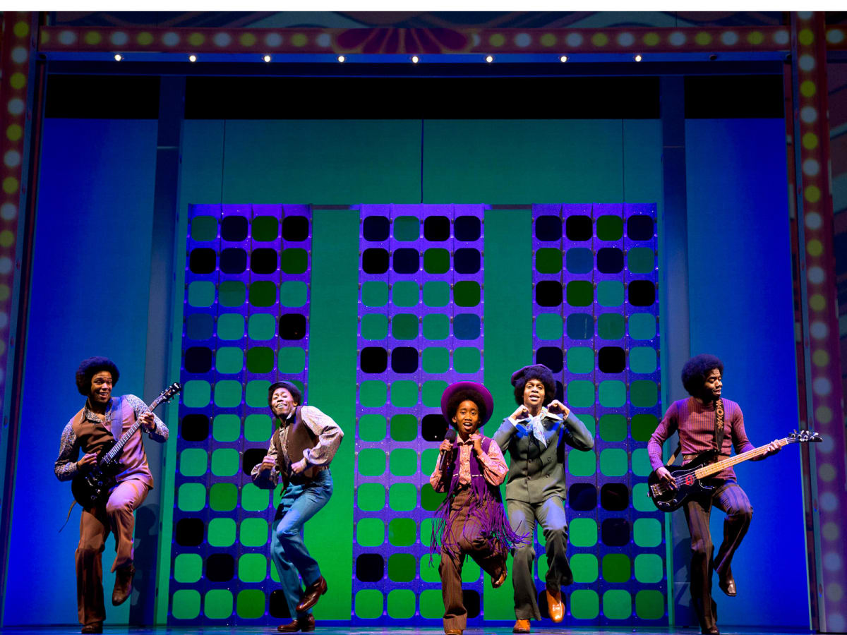 Gexa Energy Broadway at the Hobby Center series January 2014 Motown The Musical on Broadway at the Lunt-Fontanne Theatre with Raymond Luke Jr. as Michael Jackson center with the Jackson 5