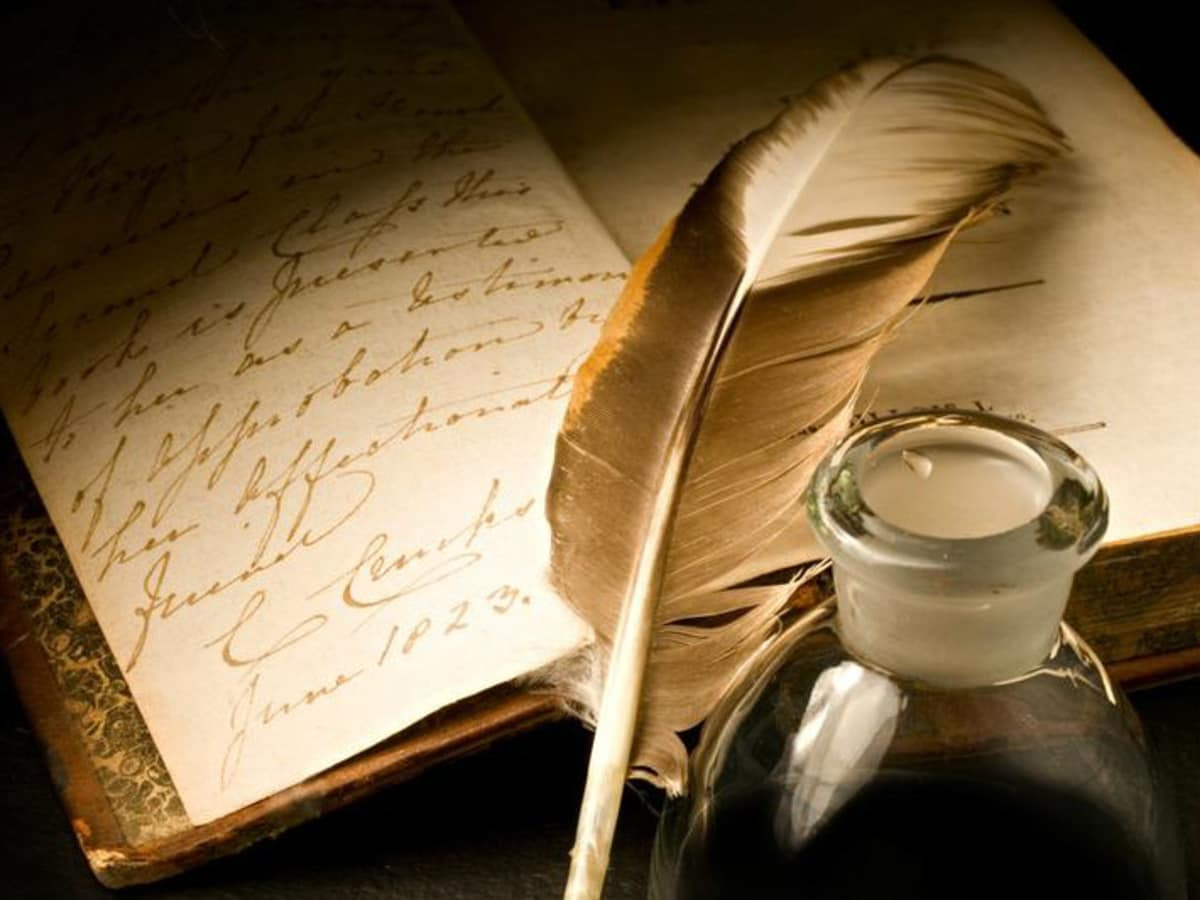 Russian House night of Russian poetry book with quill