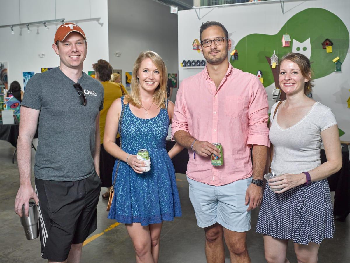 Matt Shamway, Carolyn Romey, Alex Vargas, Corey Guesset at Sawyer Yards Artist Stroll