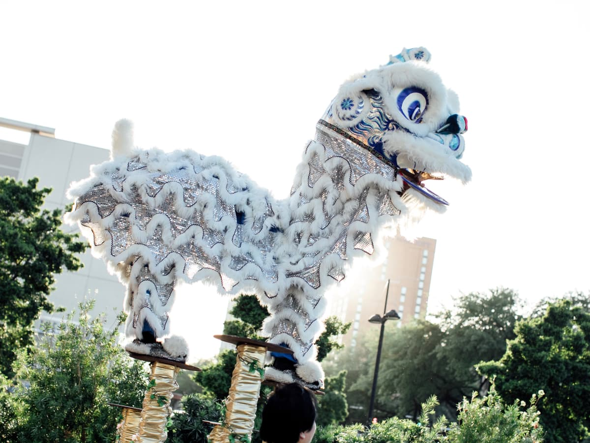 Yauatcha Opening Dancing Lions greet arriving guests
