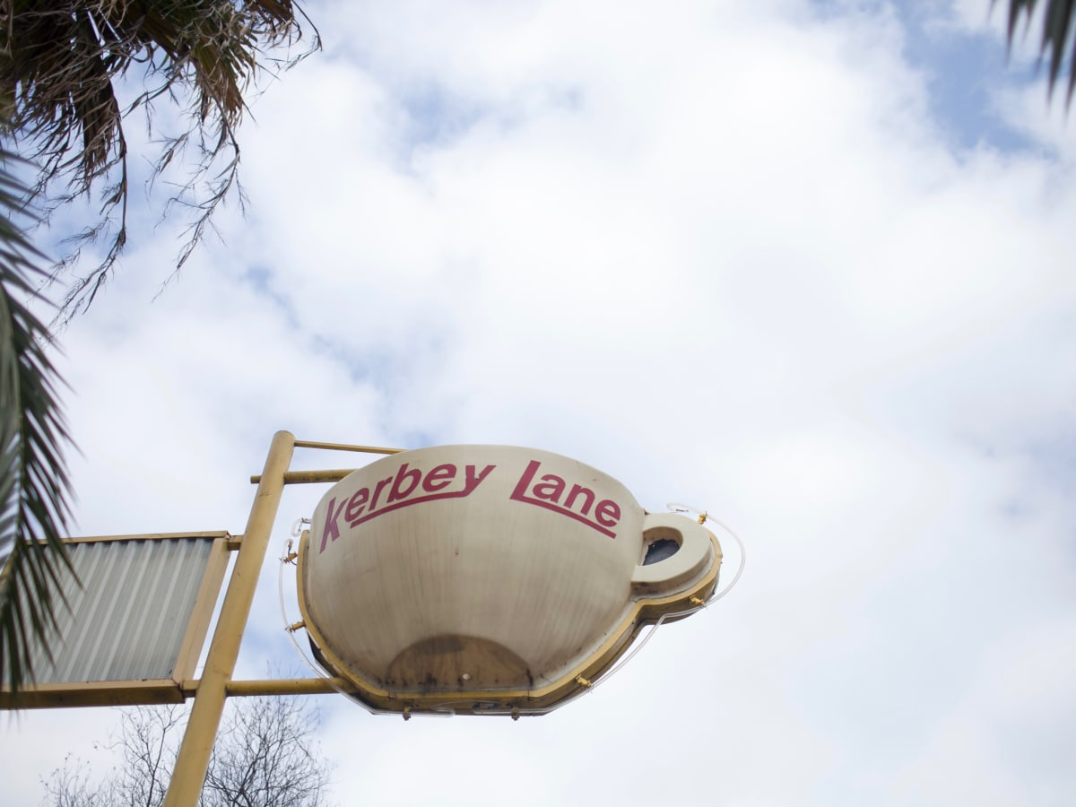 Kerbey Lane coffee cup sign