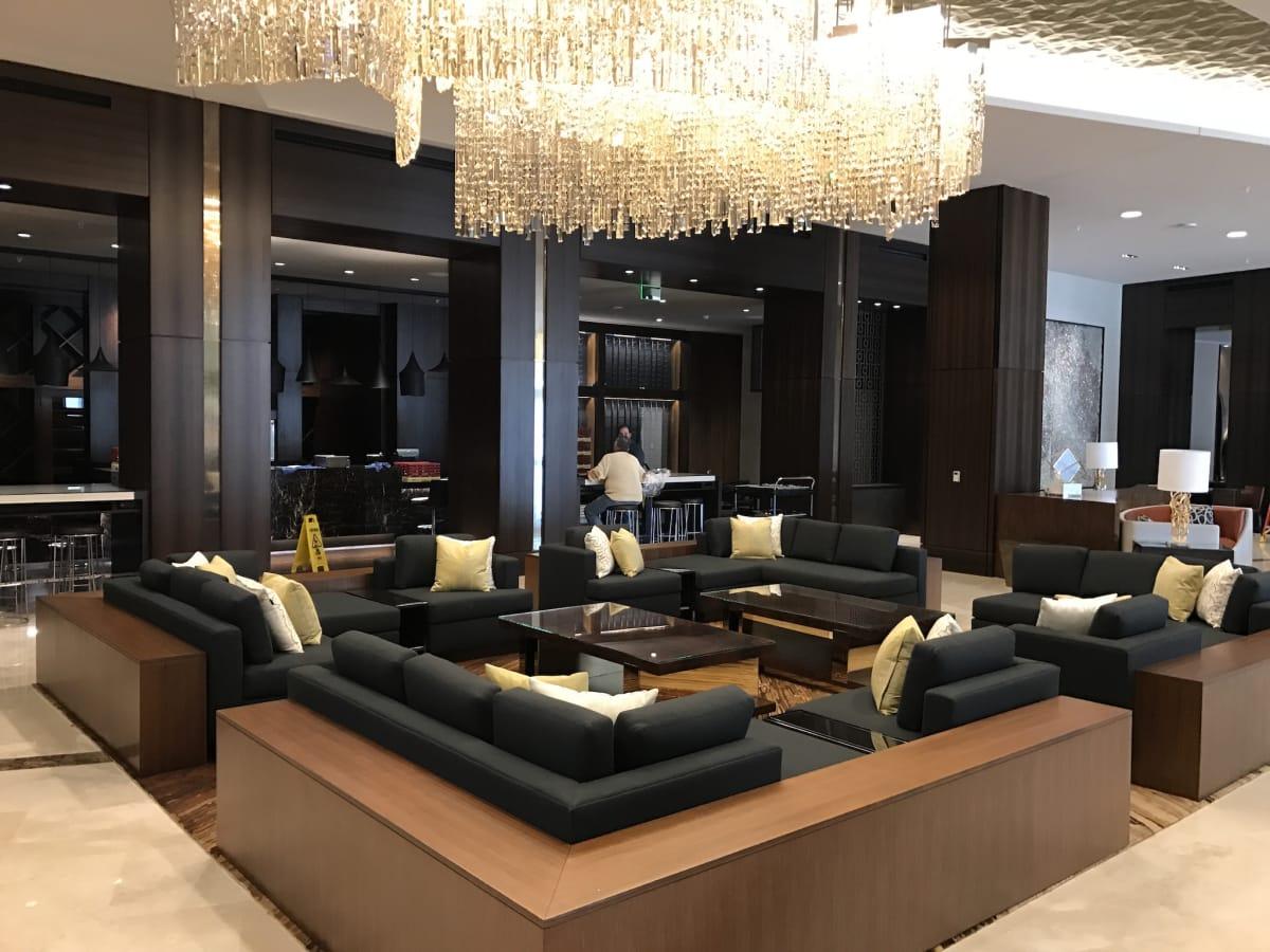 Marriott Marquis hotel lobby sitting area