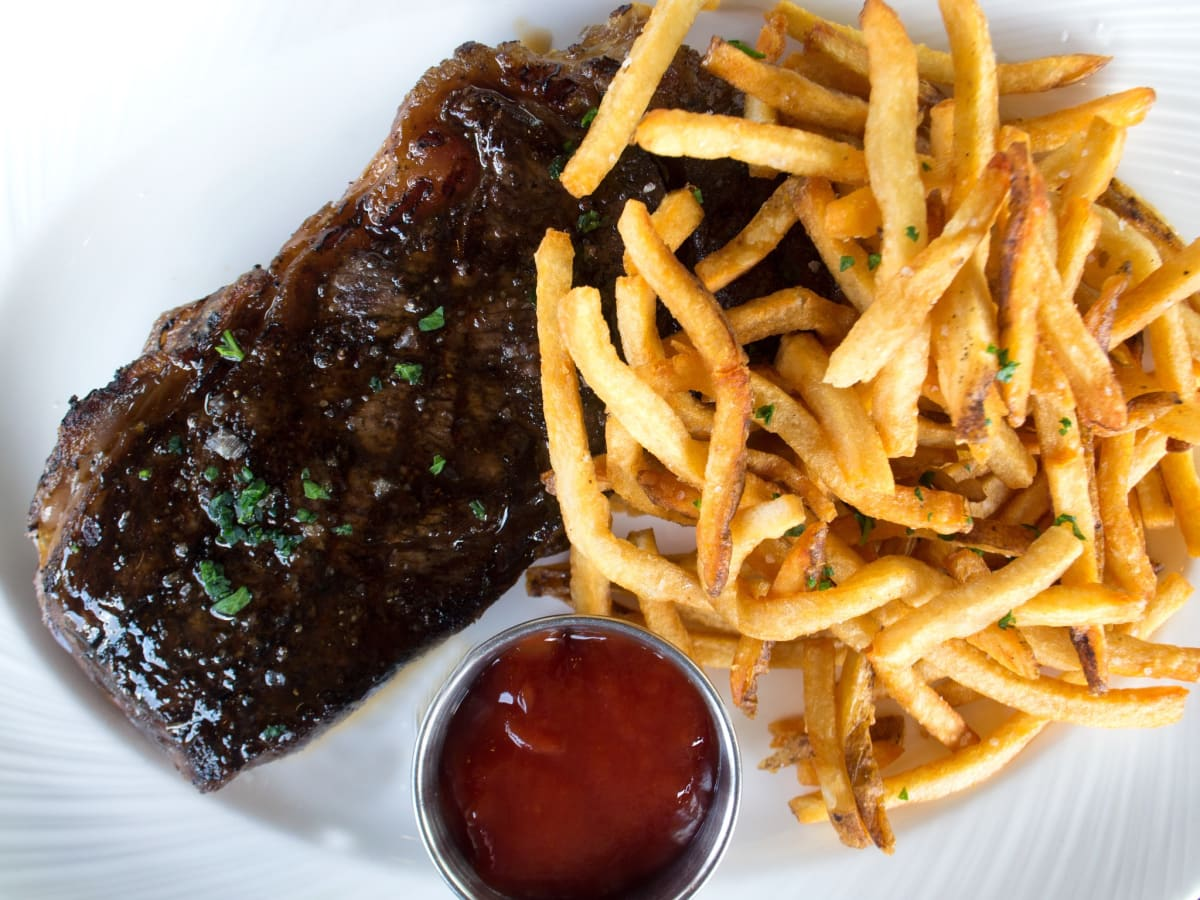 SaltAir Seafood lunch steak frites