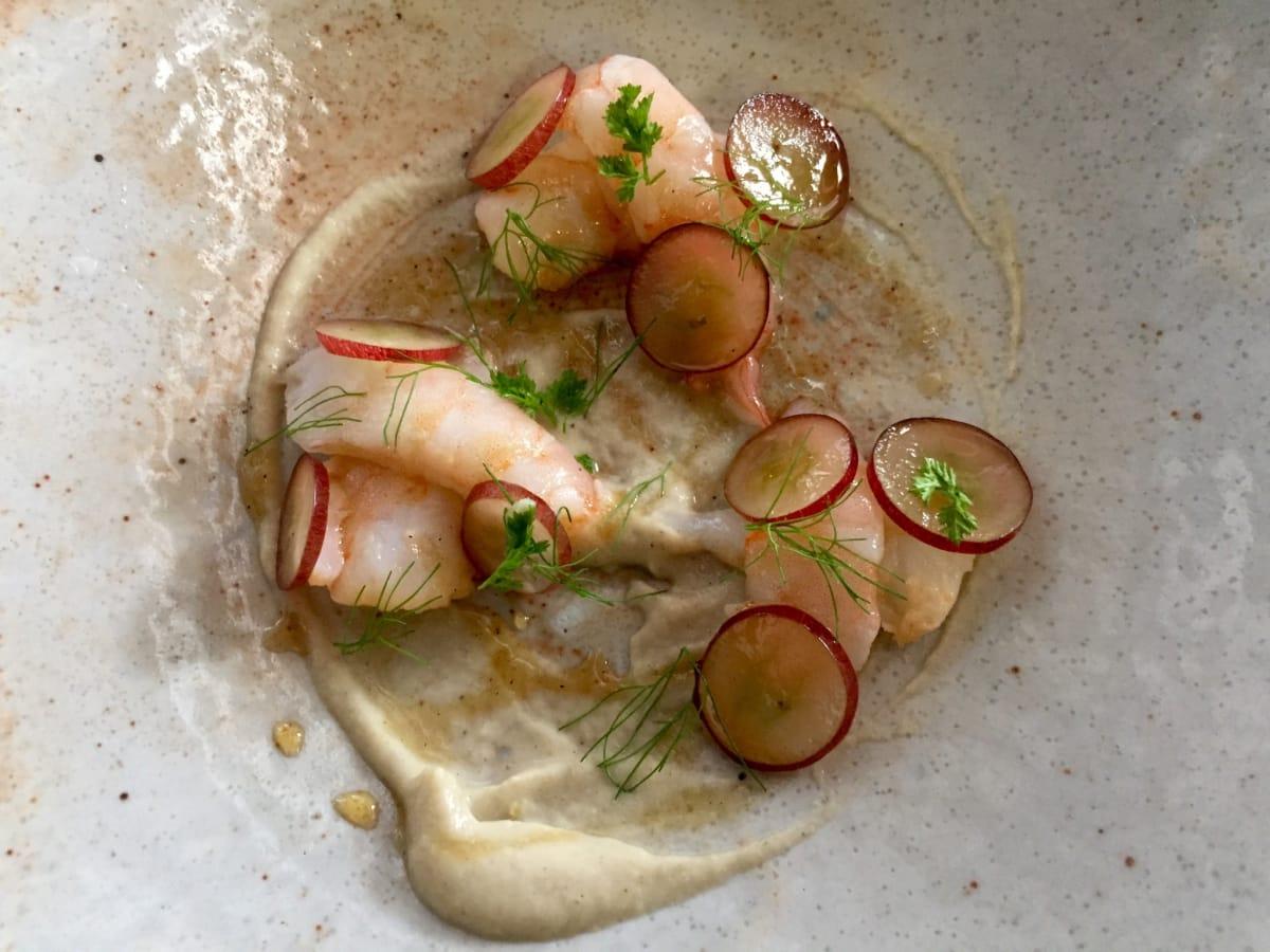 Lunch pop-up sous vide shrimp