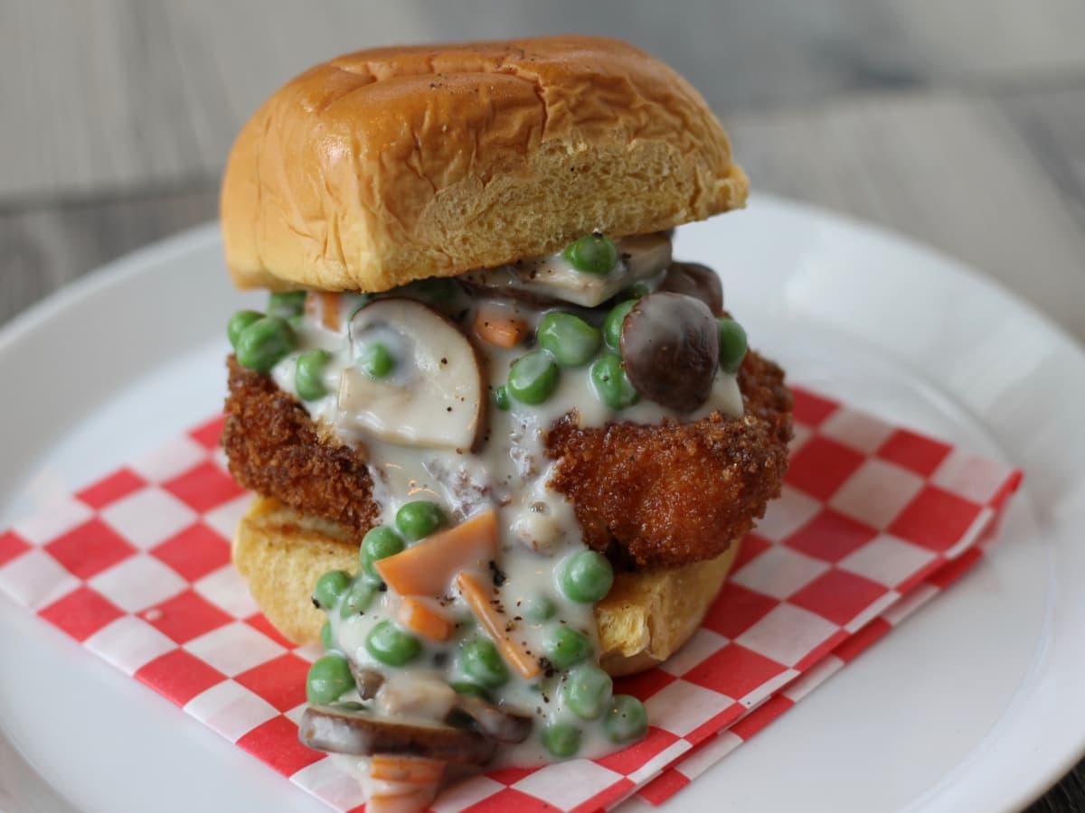 FM Burger Chicken pot pie sandwich