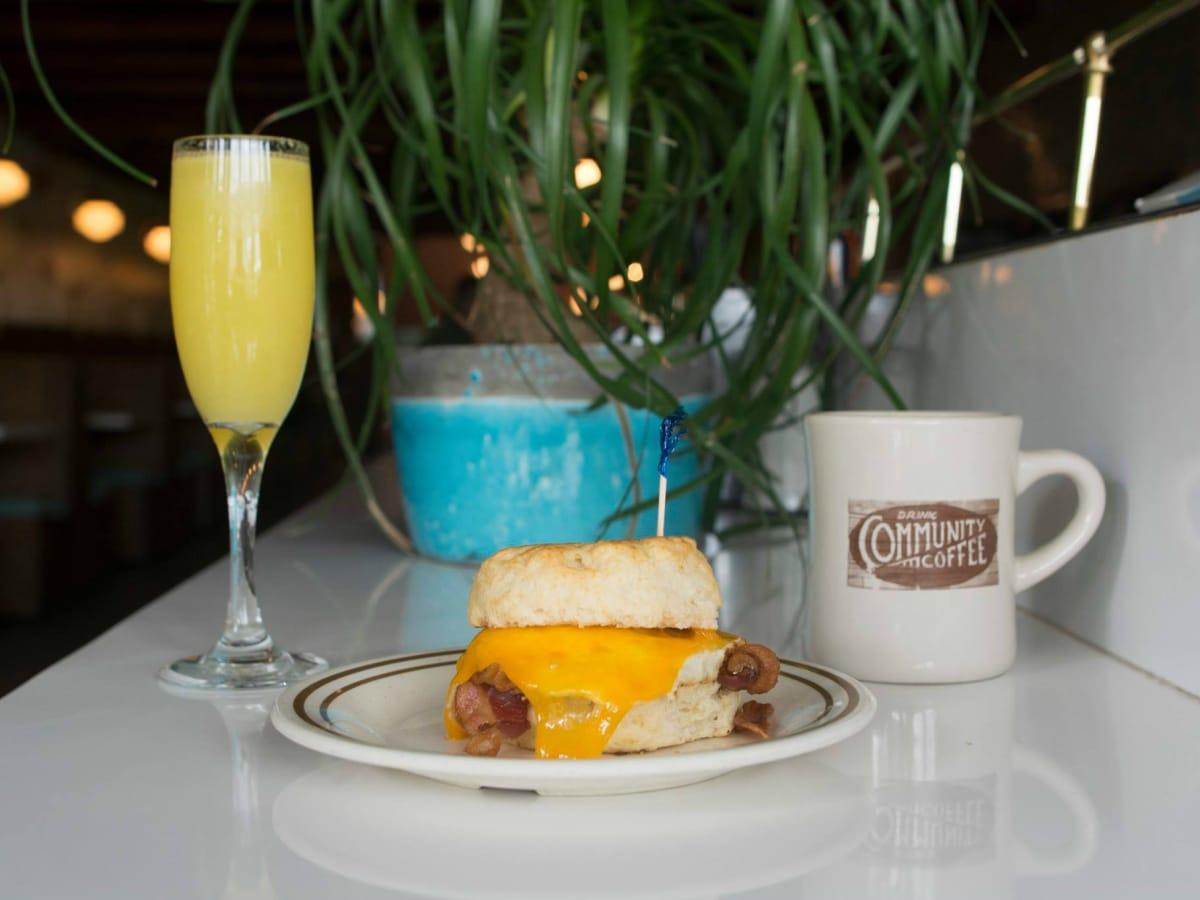 Sawyer and Co Austin restaurant breakfast sandwichi mimosa coffee