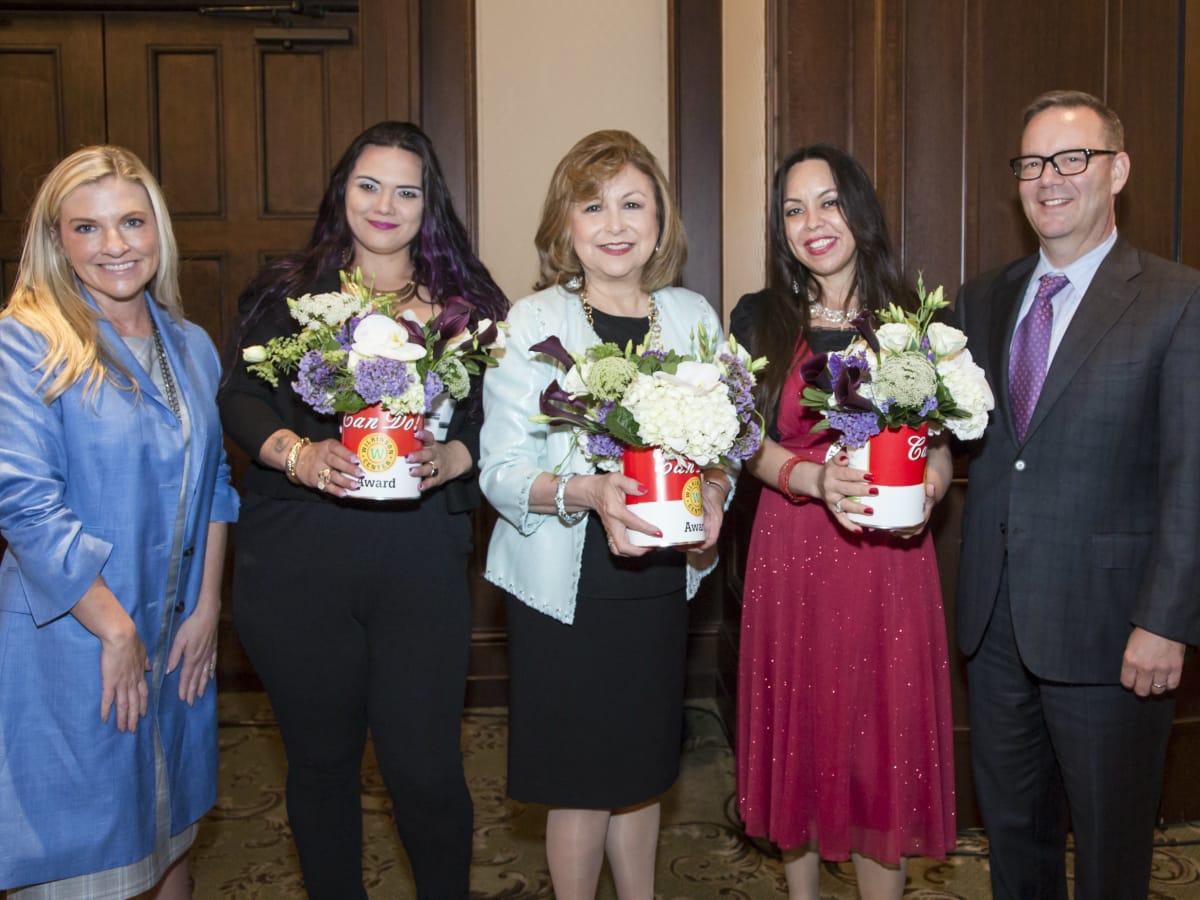 Can Do Luncheon Award Recipients (Katherine Perot Reeves- NTFB Board member, Christina Parks- Wilkinson Center client, Regina Montoya, Marilu Rodriguez- Wilkinson Center client, Brett Gray-NTFB