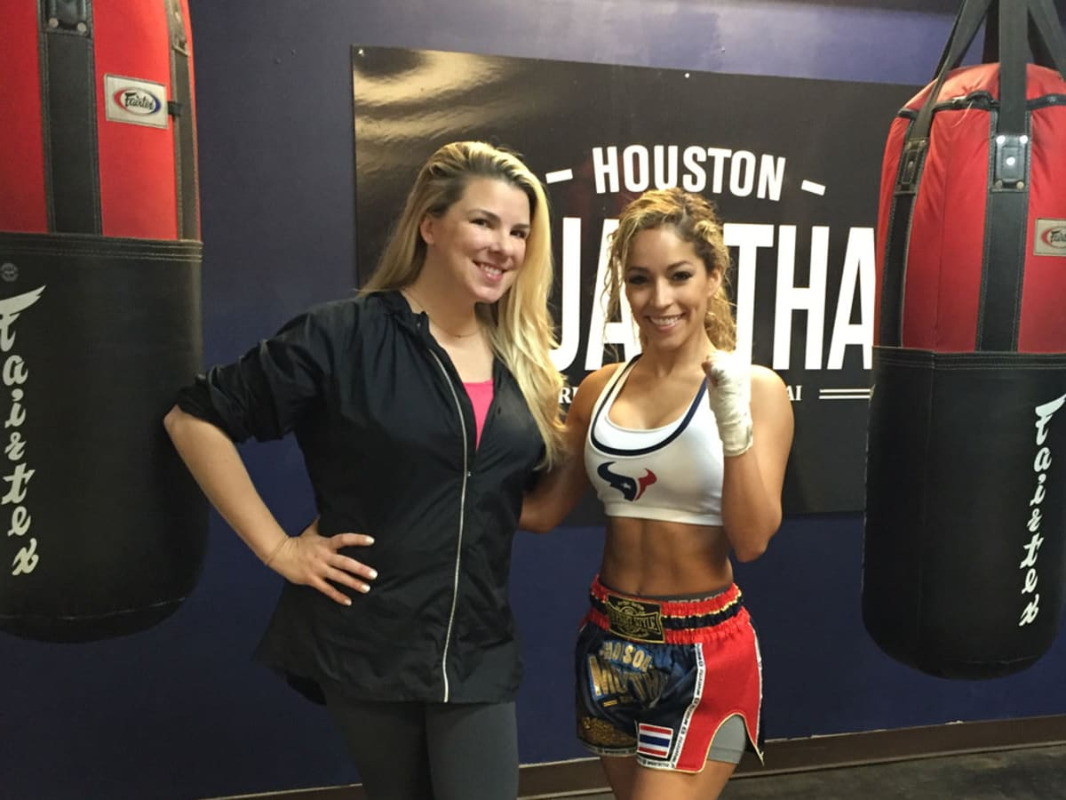 Houston Texans cheerleader Antonieta with Cari Shoemate