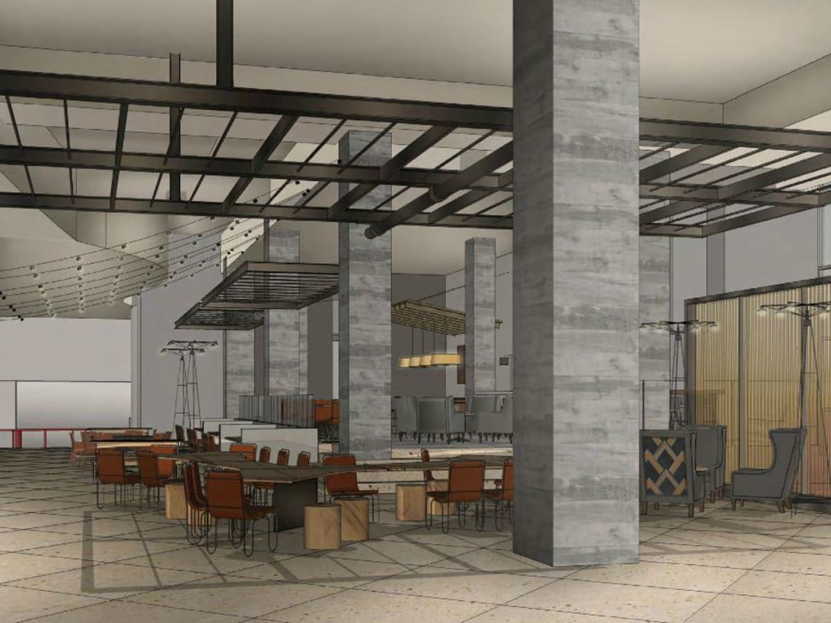 Hilton Austin downtown hotel 2016 renovation rendering lobby living room