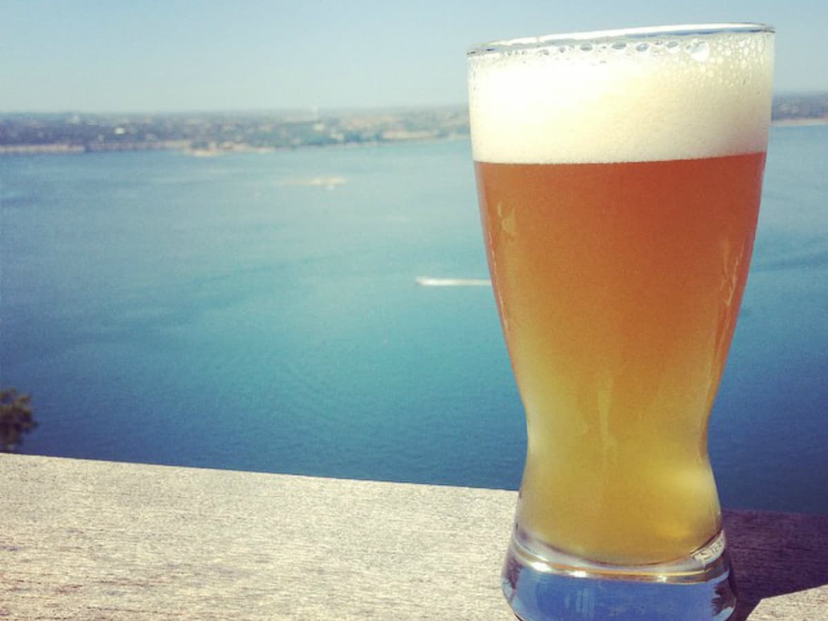 Oasis Texas Brewing Company beer Lake Travis view