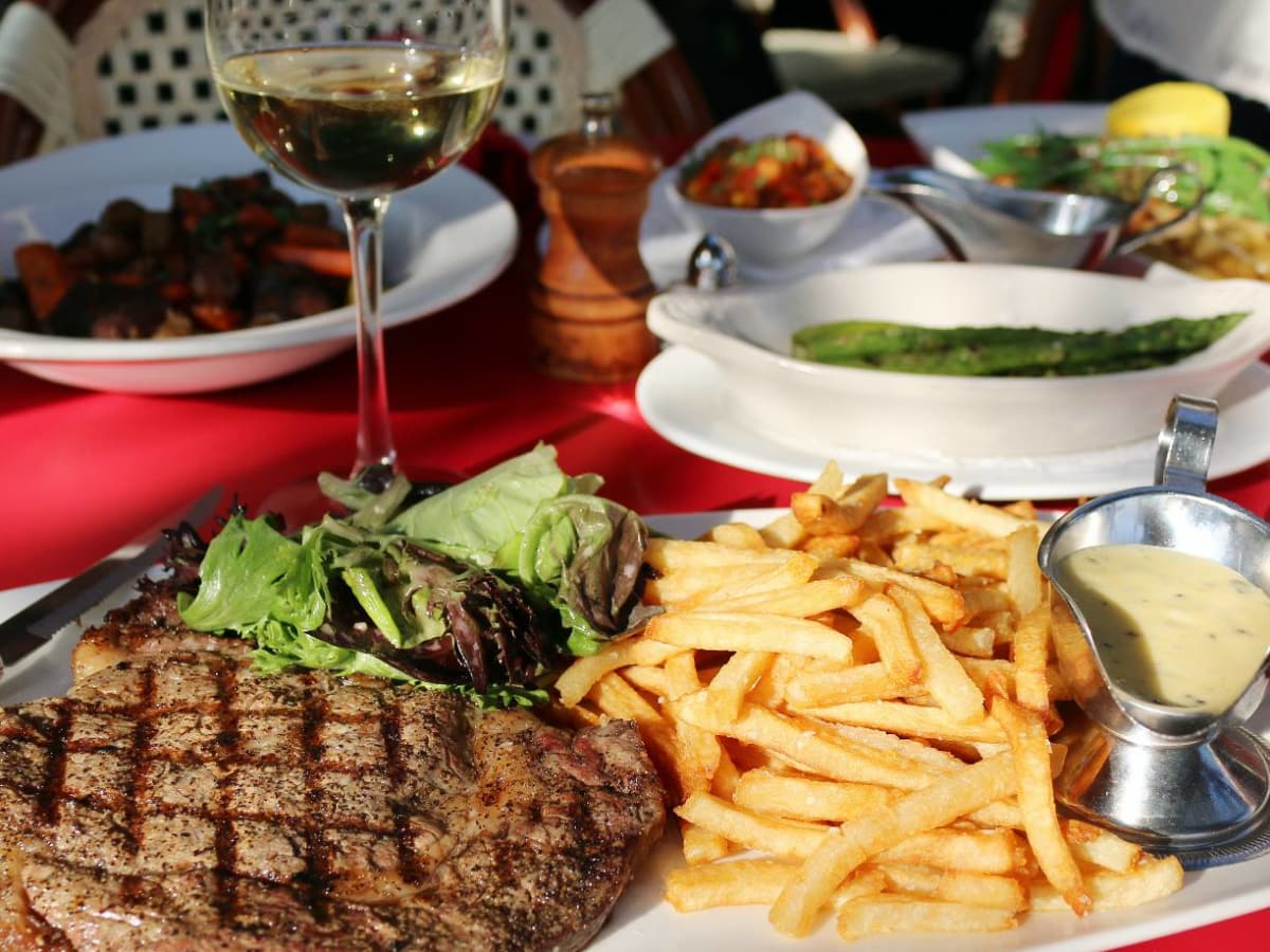 Houston, Toulouse Cafe & Bar, April 2016, New York Strip with Pomme Frites and Béarnaise