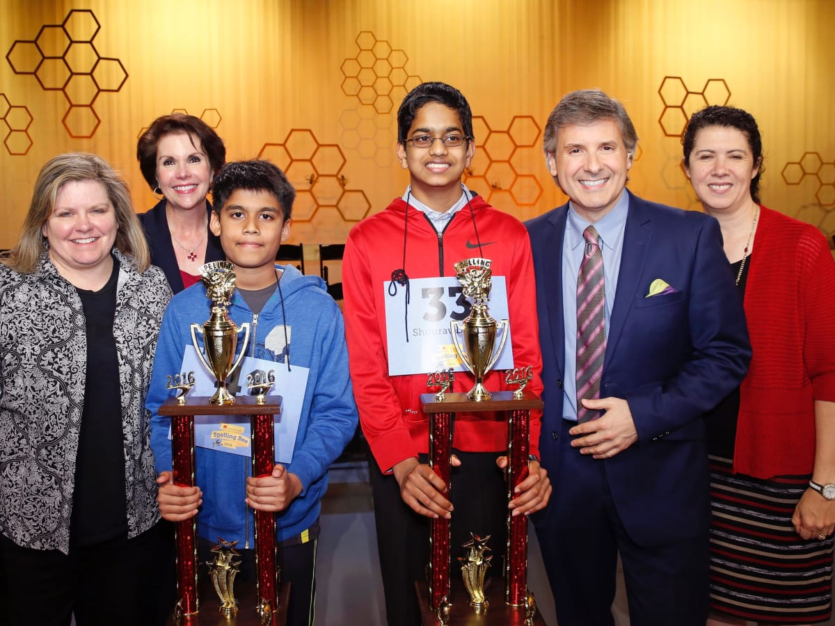 Houston Public Media Spelling Bee, Connie Hill, Lisa Shumate,Nihar Janga,Shourav Dasari, Ernie Manouse, Capella Tucker