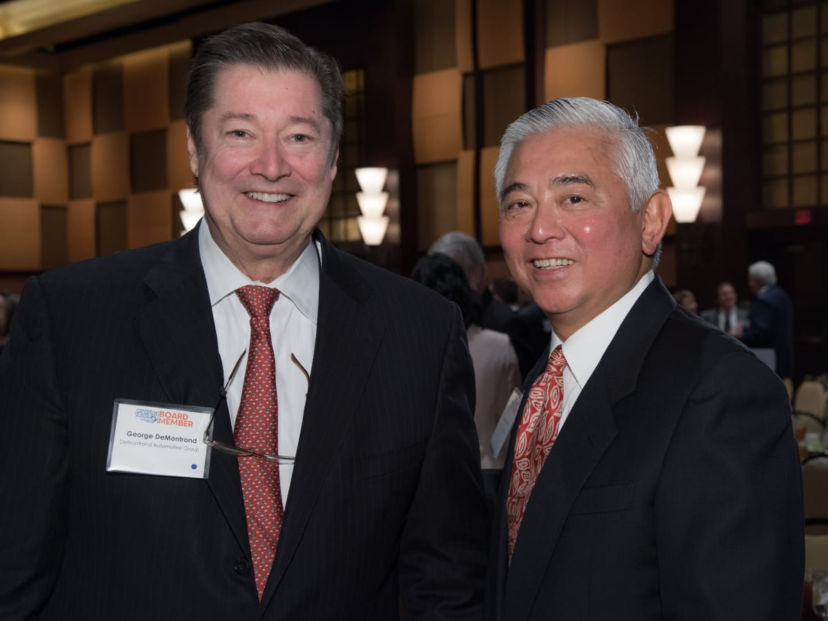 Center for Houston's Future luncheon, March 2016, George DeMontrond, Michael Jhin