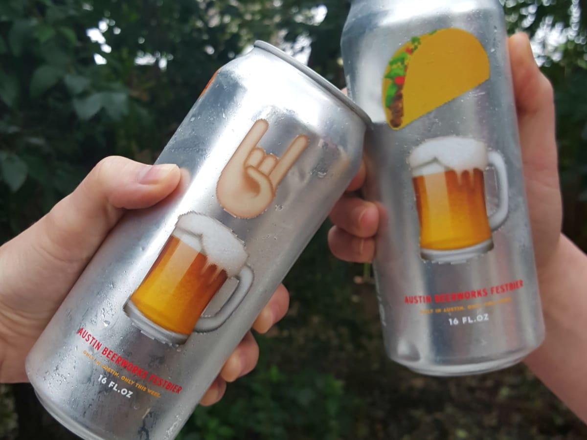 Austin Beerworks Festival Bier unofficial SXSW beer tallboy can emojis 2016