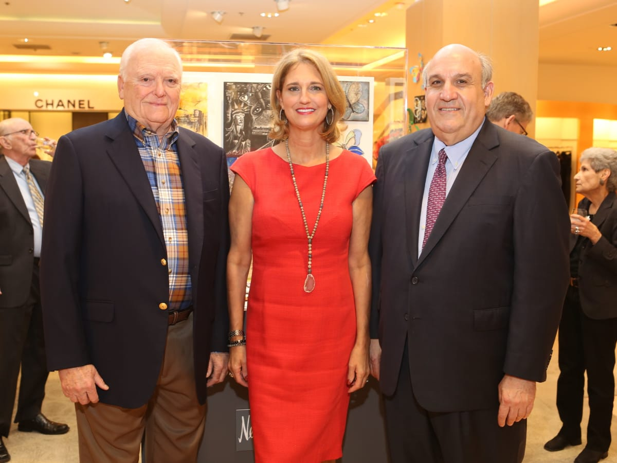 Holocaust Museum Houston Butterfly Project, March 2016, Walter Hecht (Past Chair), Liz Zaruba (Couture Manager, Neiman Marcus), Benjamin Warren