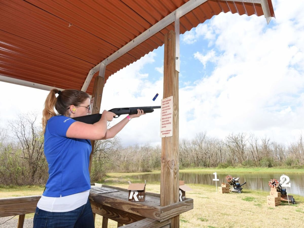 Woman at Memorial Hermann Clay Shoot