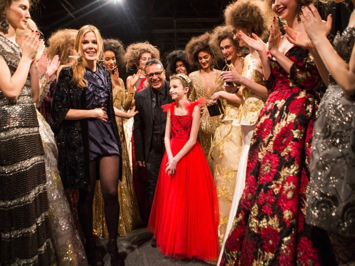 Naeem Khan and Trinity Faith Moran at runway show