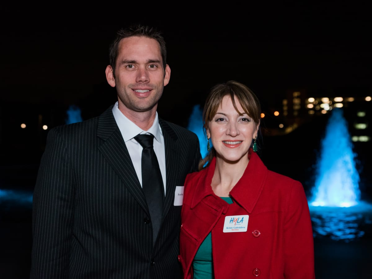 News, Houston Young Lawyers, holiday party, Dec. 2016, : Ryan Sledge and Kristy Gabrielova