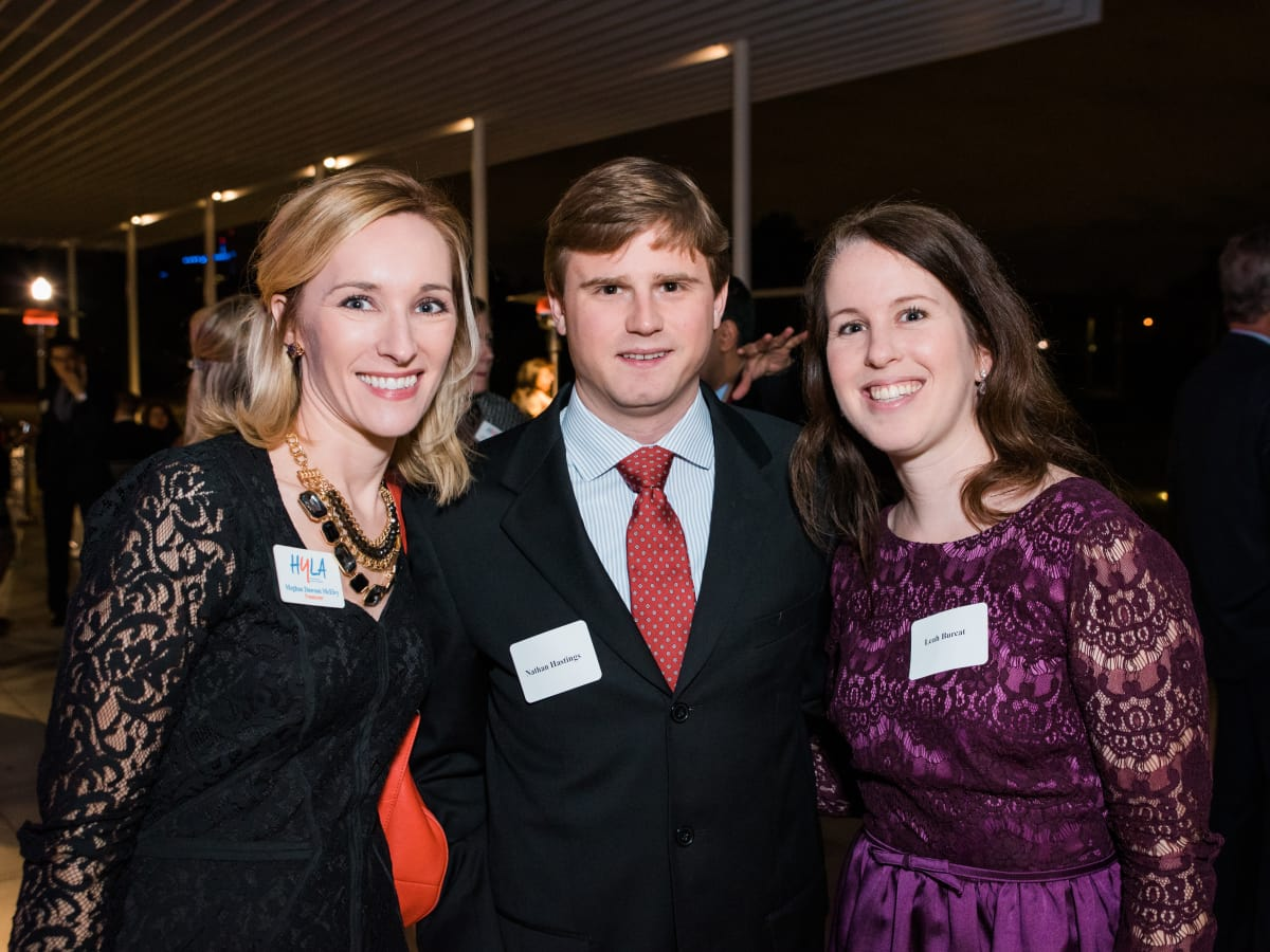 News, Houston Young Lawyers, holiday party, Dec. 2016, Meghan McElvy, Nathan Hasting, Leah Burcat