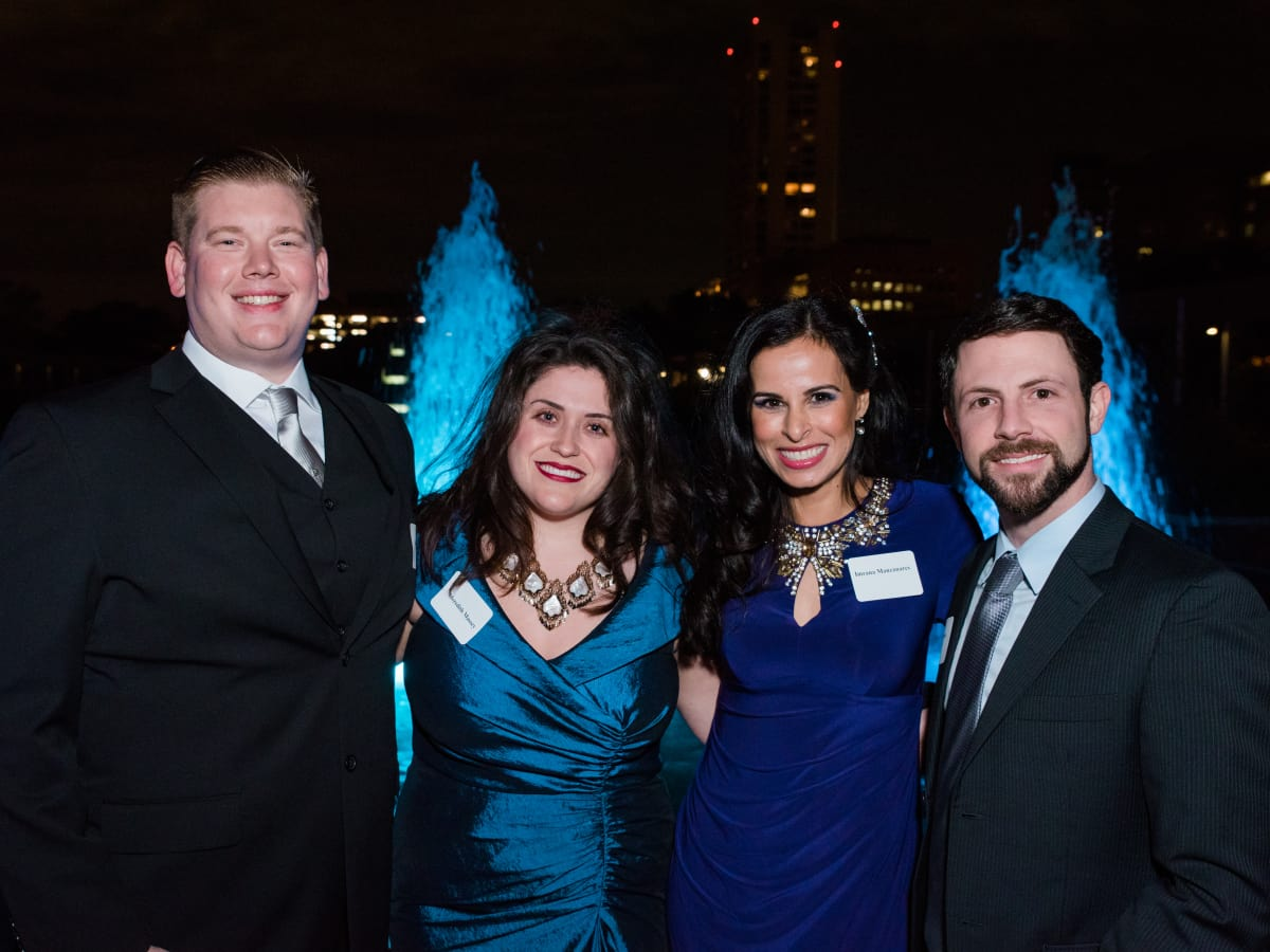 News, Houston Young Lawyers, holiday party, Dec. 2016, : Ian Dulaney, Meredith Massey, Imrana Chowdhry Manzanares, David Lisch