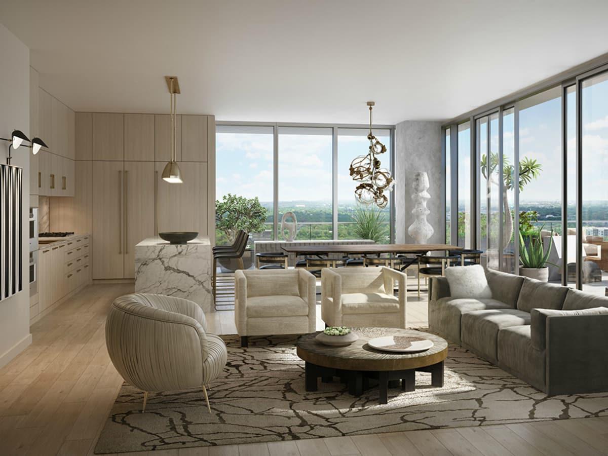 Austin Proper residence living room kitchen rendering 2015