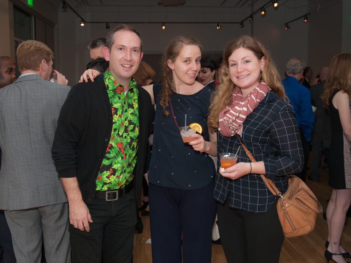 News, DiverseWorks MATCH party, Dec. 2015 Dennis Nance, Sarah Darro, Hayley McSwain