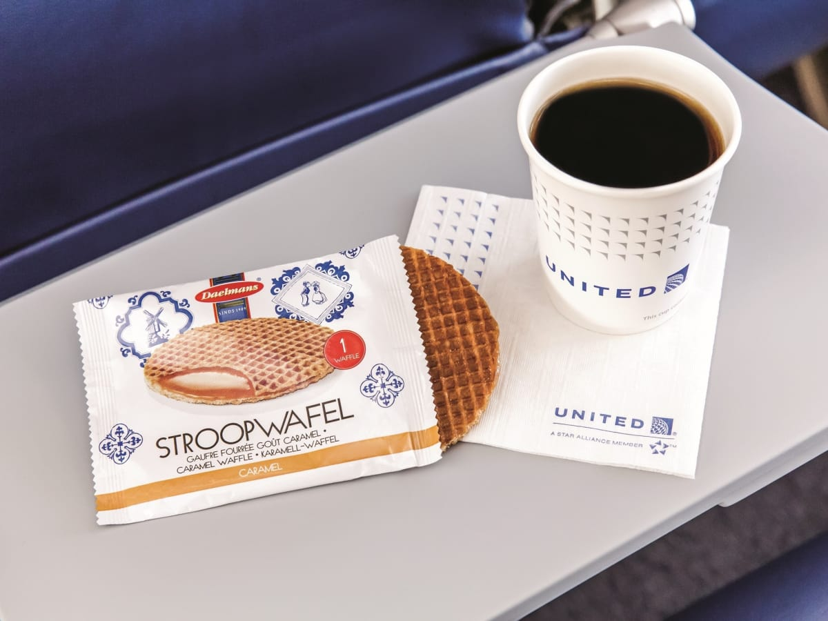 United Airlines free snacks morning stroopwafel