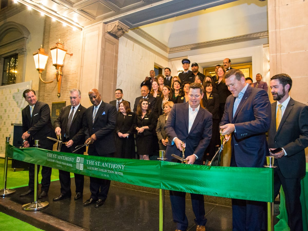 The Saint Anthony Hotel San Antonio Grand Reopening 2015 ribbon cutting Clyde Johnson Kevin Thorstenson Hoyt Harper Sam Kasperick Michael Lynd Brandon Raney