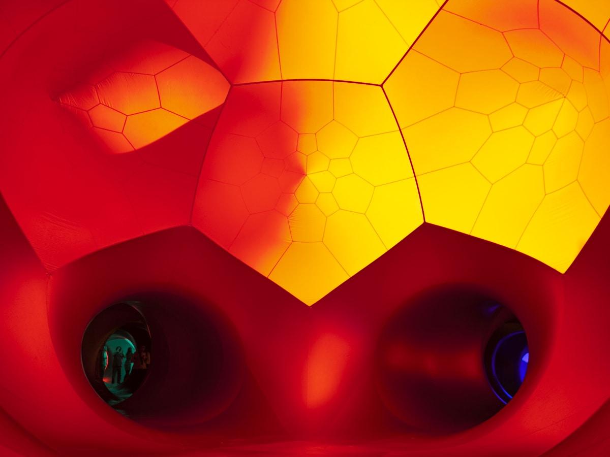 Architects of Air Luminarium Pentalum Long Center orange tunnel 2015