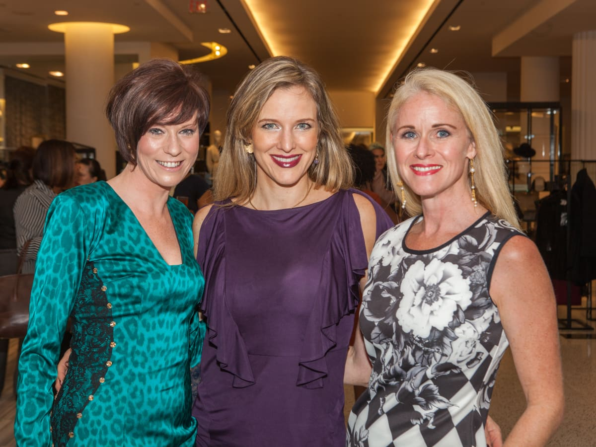 Christine Kearns, Sally Lechin, Christine Tabrizi at Heart of Fashion kickoff party