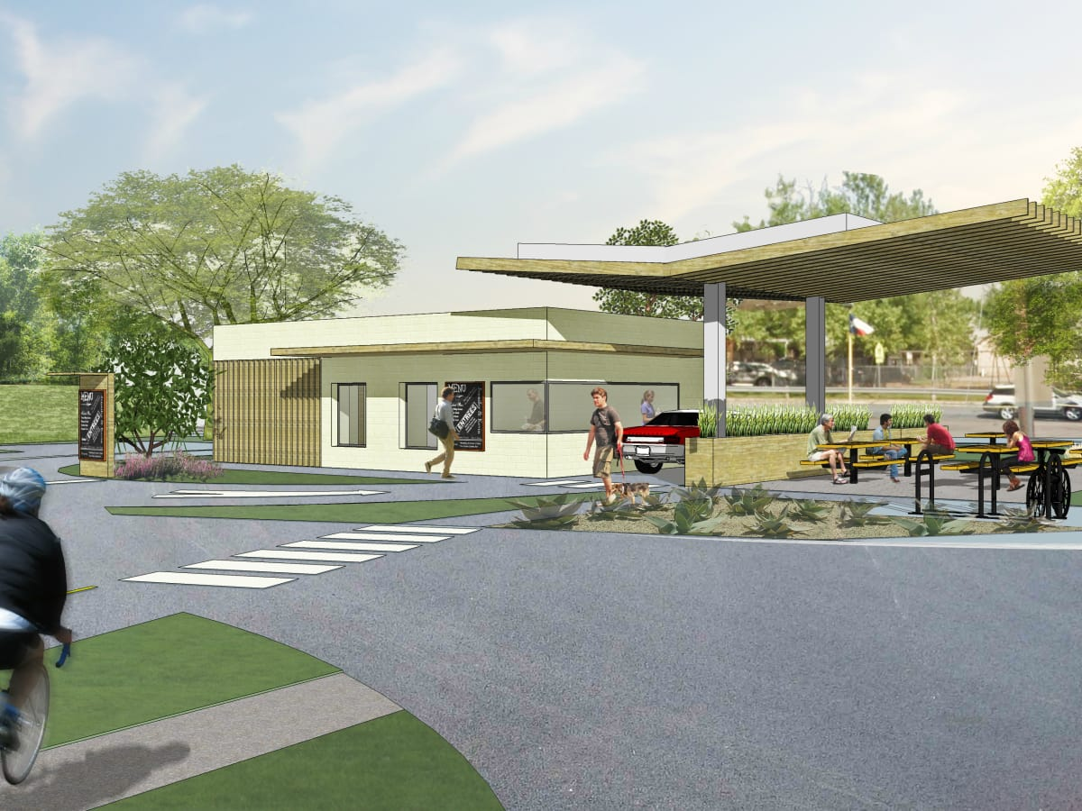 Baby Greens Austin fast food restaurant rendering Anderson Lane 2015
