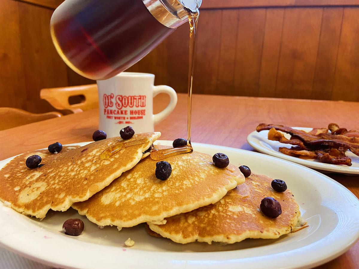 Ol' South Pancake House berry and chocolate chip pancakes