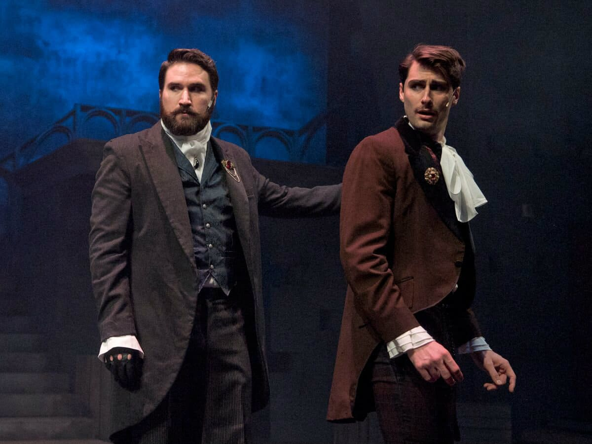 Jonathan Bragg and Daniel Rowan in Creep at WaterTower Theatre